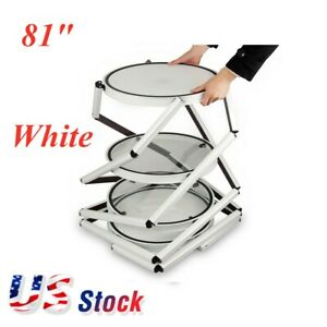 "81"" White Round Spiral Folding Twister Tower Display Case Exhibition Retail-US"