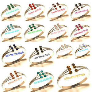 Marvelous Mix Gemstone Bracelet Silver Plated Handmade Bangle Fashion Jewelry