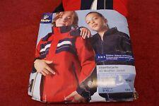 Tchibo 3 in 1 All weather windproof waterproof jacket red/blue fleece 9-10 years