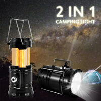 LED Portable Camping Torch Battery Operated Lantern Night Light 2 in 1 Tent Lamp