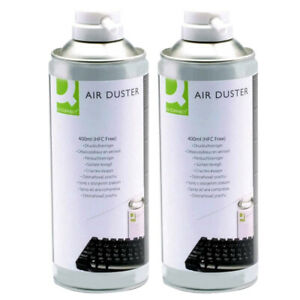 2 x Q Connect Compressed Gas Air Duster 400ml Can for Cleaning Computer Keyboard
