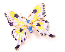 Gold Tone Butterfly Brooch with Purple and Yellow Enamel