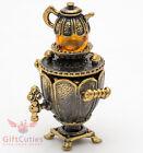 Brass Amber Figurine of Russian Samovar Teapot Totem talisman IronWork