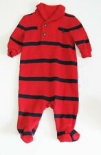 Polo Ralph Lauren Baby Boys  Striped French Rib Coverall Red Multi Sz 3M - NWT