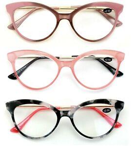 3 Pairs Women Cateye Pointed Tip Reading Glasses - Metal Temple Cat Eye Readers
