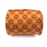 Kiton Napoli Seven 7 Fold Golden Orange Floral Geometric Silk Tie Luxury Necktie