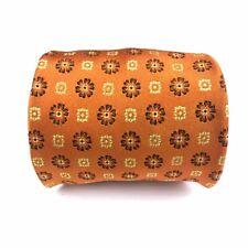 Kiton Napoli Seven 7 Fold Golden Orange Floral Geometric Silk Tie Luxury Necktie