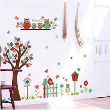 Cute Owl Bird Tree Flower Floral Wall Stickers Decor Children Nursery Room Decal