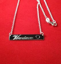 925 Sterling Silver Personalized Bar Name Plate Necklace Silver&gold color *USA*