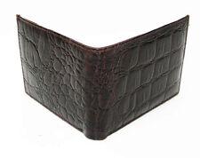 BLACK Genuine Leather Mens Bifold Wallet Crocodile Croc Print Flap Top Cowboy