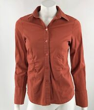 The Limited Dress Shirt Medium Brick Red Button Up Gathered Front Collared Top