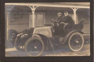 "ROYALTY. Edward VII. ""The King in his Motor"" Car. 1904. Smashing Broom RP."