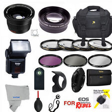 CANON EOS REBEL DSLR T5/1100D T5I HD PRO KIT WIDE ANGLE ZOOM FLASH CASE FILTERS
