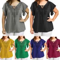 Plus Size Womens Fashion Curve Appeal Lace T-Shirt Blouse Bat Short Sleeve Tops