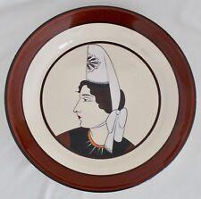 "HB Quimper Faience 11.75"" Round Dish Bretonne Woman Portrait Plate Beige Brown"