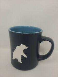 Starbucks 2012 Starbucks Yukon Polar Bear Embossed Navy Blue 16 Oz Coffee Mug