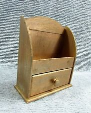 New listing Primitive Old 1940's Gold Painted Wood Small 3x8x10 Kitchen Drawer Shelf Free Sh