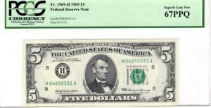 Fr. 1969-H $5 1969 Fed Res Note PCGS Superb Gem Unc 67 PPQ