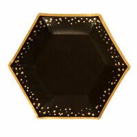 "8 x Black & Gold Glitz 7"" Paper Plates Ladies Birthday Party Tableware Supplies"