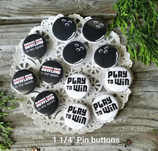 "12 Bowling Pins * 1 1/4"" PINBACK Buttons Bowl League Team Party Favor USA NEW"