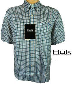 Huk Santiago Phenom Quick Dry Button Short Sleeve Front Fishing Shirt L SPF +30