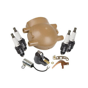 Fits Ford 8N 9N 2N Ignition Tune up kit, Plugs & Cap - Front Mount Distributor