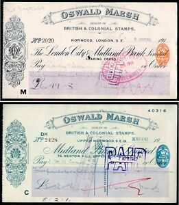 1915 & 1942 Oswald Marsh British & Colonial Stamp Dealers Cheques