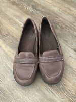 CLARKS BROWN LEATHER LOAFERS SLIP ONS WORK DRESS SHOES MOCS US WOMENS SZ 9.5 M
