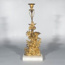 AntiqueFrench Gilded Bronze Candlestick Candelabra, Courting Scene, Man, Woman