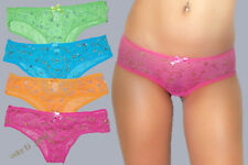 S M L 2pr SHEER MESH Multi-Color Glitter Swirl Print BIKINI PANTIES Pack Lot