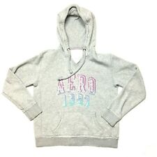 Aeropostale Hoodie Sweater Sz M Aero 1987 Gray Womens/Girls Sequin Purple Blue