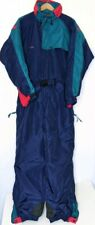 COLUMBIA Vintage Blue Teal Red Accent Color Block Ski Snow Suit Men's Size Large
