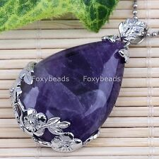 Natural Amethyst Stone Teardrop Flower Wrap Clip On Clasp Pendant For Necklace