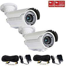 2x Security Camera 42 IR LEDs 700TVL 4-9mm Len w/ SONY Effio CCD Cable Power wtn