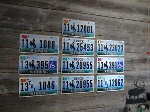 Wyoming License Plate bulk lot bucking horse All Original Flat Teton Base plates