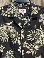 MD Fashion Hawaiian Pineapple Aloha Luau Tiki Shirt L Black