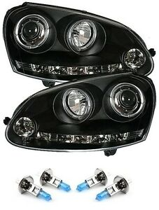 VW Golf Mk5 Black Angel Eye Projector Headlights LED DRL R8 With H1 Bulbs