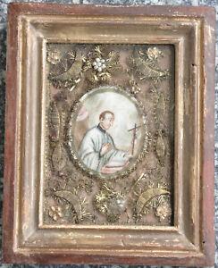 """Klosterarbeit """"Hl. Aloisius"""", um 1800, Aquarell, Glassteine, Perlen, 16/20 cm"""