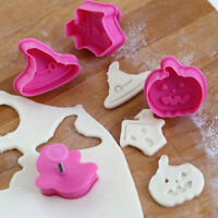 4 PCS Halloween Fondant Cake Pastry Cookies Plunger Cutter Mold Decorating Mould