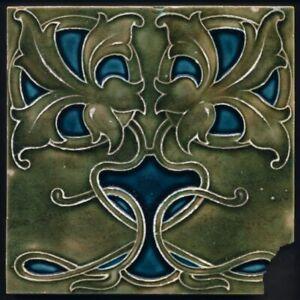 TH3882 Rare Bold Carter Poole Art Nouveau Majolica Tile c.1908