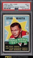 1968 O-Pee-Chee Hockey Stan Mikita HART ROSS BYNG TROPHY #211 PSA 7 NRMT