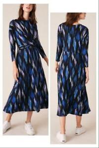 Monsoon - Geo Print Jersey Midi Dress - Blue - Size M or L (Brand new With Tag)