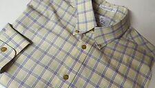 Enro Non Iron Poplin Long Sleeve Casual Dress Shirt Large Plaid Imported Cotton