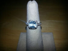 Sterling Silver Genuine Blue Topaz Ring 1.75 ct Cushion Cut, size 5