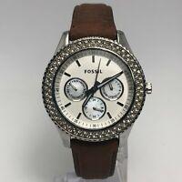 Fossil Womens ES2996 Brown Leather Band Diamond Chrono Quartz Analog Wristwatch