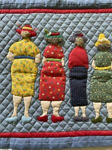 Hand quilted hand appliquéd 4 Friends wall hanging