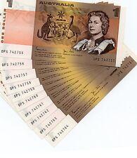 1982 Australian 10 X $1 NOTE LAST PREFIX DPS Consecutive UNCIRCULATED Banknotes
