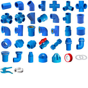 Blue PVC 32mm ID Pressure Pipe Fittings Metric Solvent Weld Various Parts