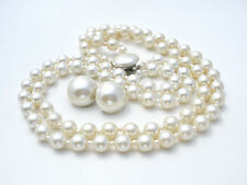 Vintage Double Strand Pearl Bead Necklace Earrings Beaded White Wedding Set