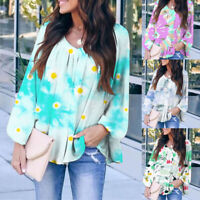 ❤️Womens Long Sleeve Tie Dye Sweatshirt Loose Pullover Blouse Ladies Casual Tops